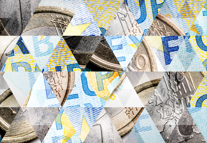 Abstract triangle mosaic background: 1 Euro coin on 20 Euro bank note