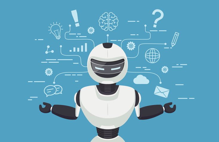 Chat bot, robot virtual assistance. Artificial intelligence conc